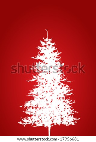 Christmas tree red background- illustration, vector - stock vector