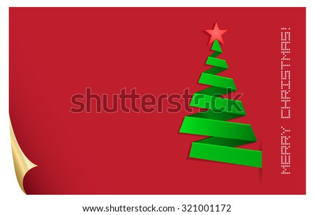 christmas tree red greeting abstract card - stock vector