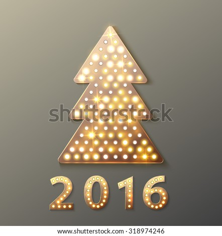 Christmas tree retro light banner. Vector illustration eps 10 - stock vector