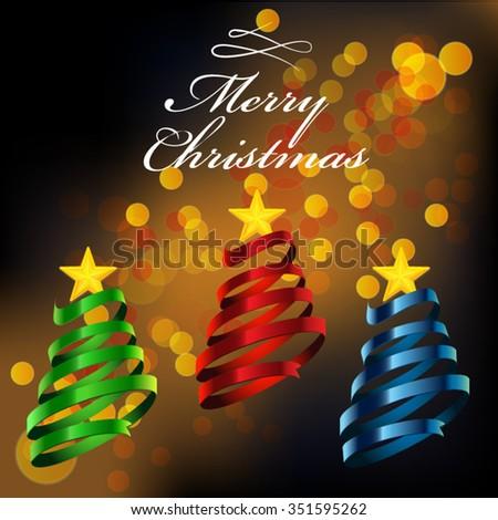 Christmas tree ribbon style. - stock vector