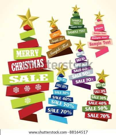 Christmas tree sale from ribbon vector background - stock vector