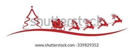christmas tree santa claus reindeer sleigh red - stock vector