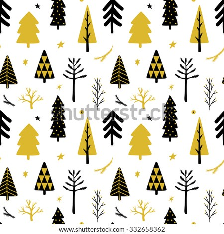 Christmas tree seamless background  - stock vector