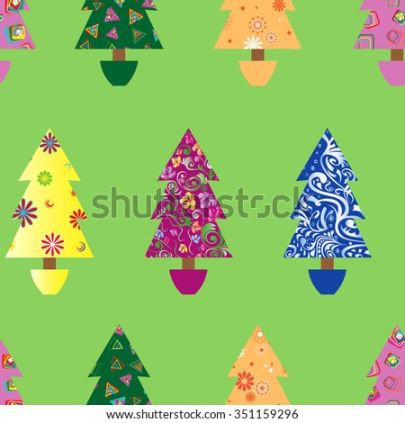 Christmas tree seamless vector pattern with colourful ornate decoration as a fabric detail over green background - stock vector