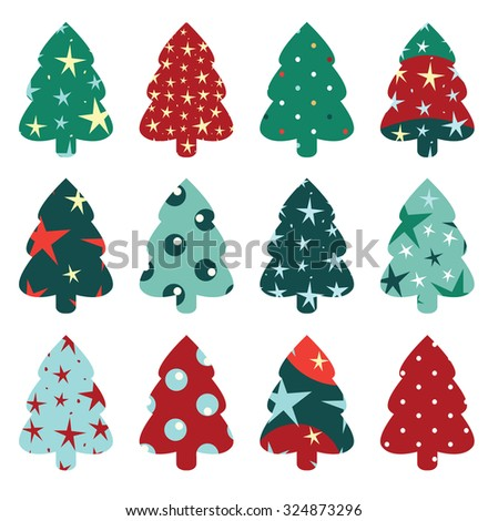 Christmas tree set - stock vector