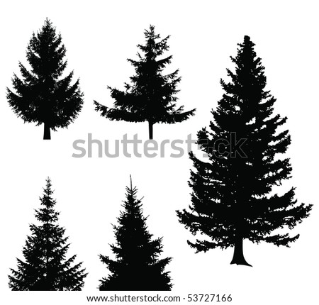 Christmas tree set, elements for design - stock vector