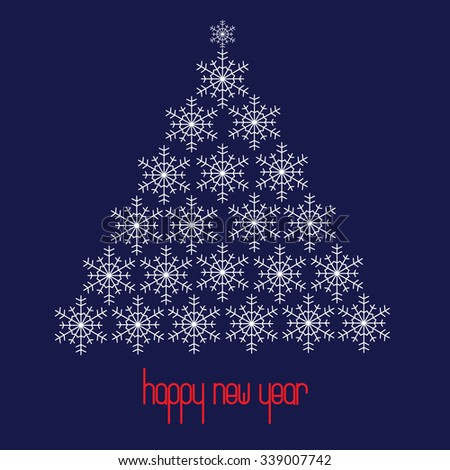 Christmas tree shaped from snowflakes. Happy New Year. Vector illustration. - stock vector