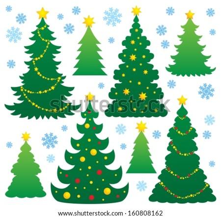 Christmas tree silhouette theme 9 - eps10 vector illustration. - stock vector