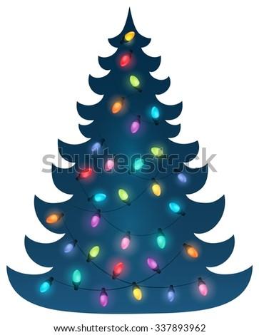 Christmas tree silhouette topic 6 - eps10 vector illustration. - stock vector