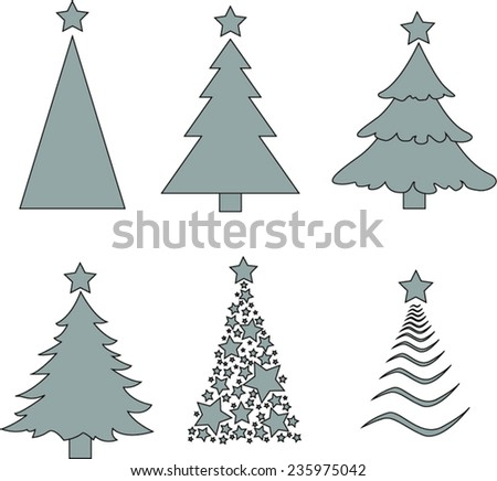 Christmas tree silhouette. Vector Illustration - stock vector