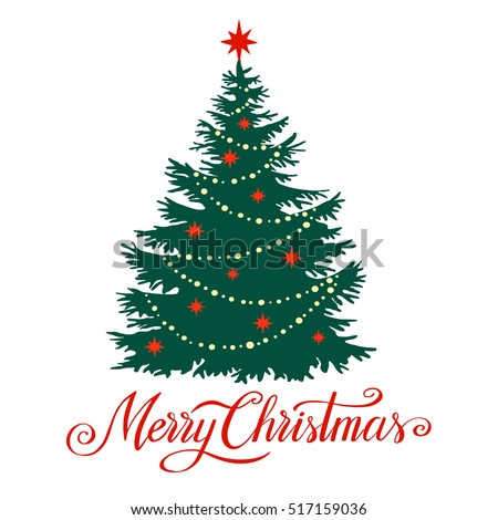 Christmas tree silhouette with snowflakes, vector illustration isolated on white background, template for design, greeting card, invitation.