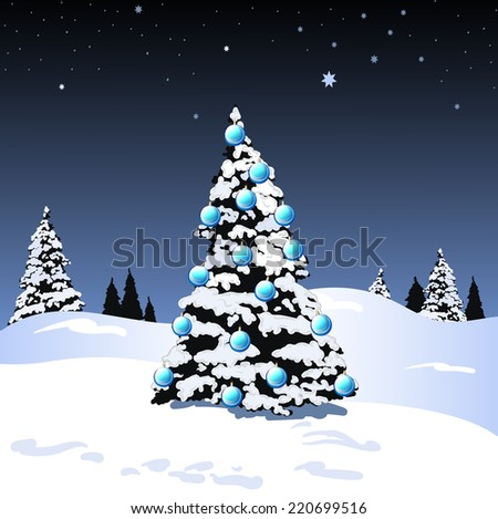 Christmas Tree Snow Scene with Ornaments