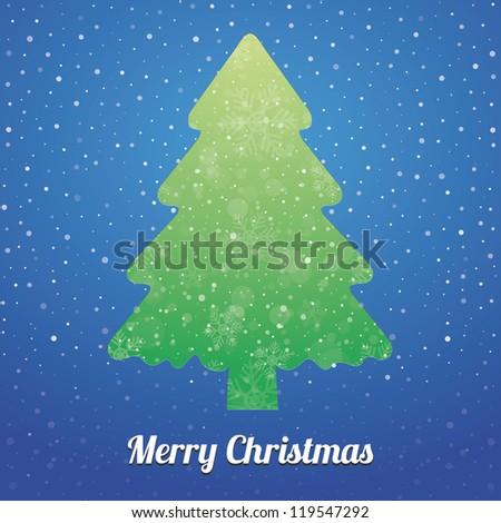 christmas tree snowflake snow stars green blue - stock vector