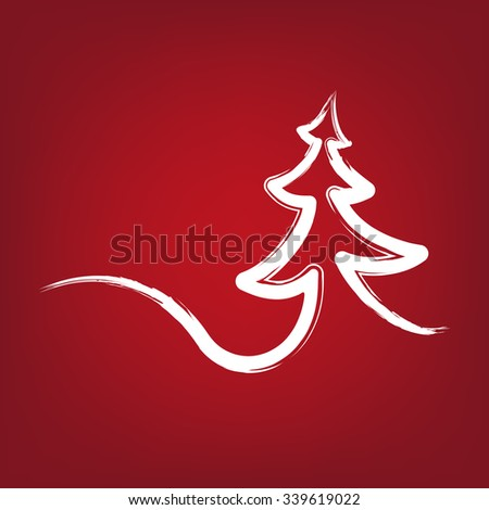 Christmas-tree strokes symbol drawn vector illustration  isolated
