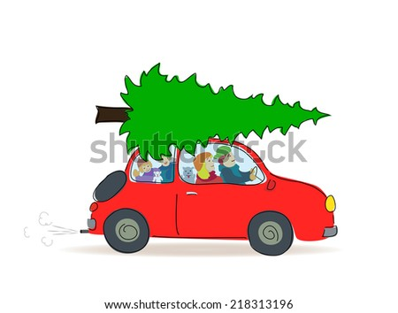 Christmas tree transport by car, Vector illustration isolated on white background - stock vector