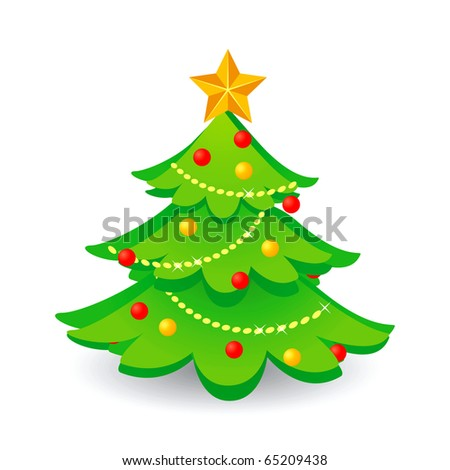 Christmas tree.Vector. - stock vector