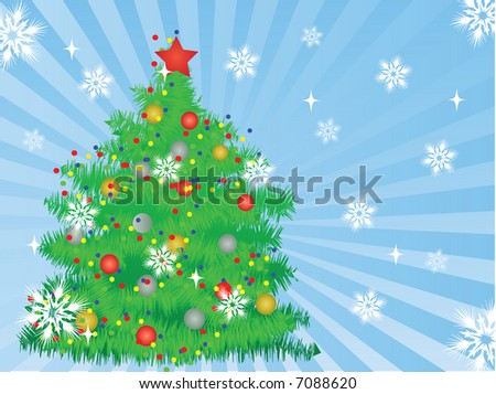 christmas tree,vector background - stock vector