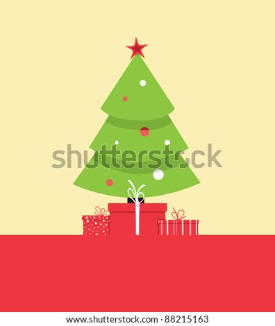 christmas tree vector greeting card - stock vector