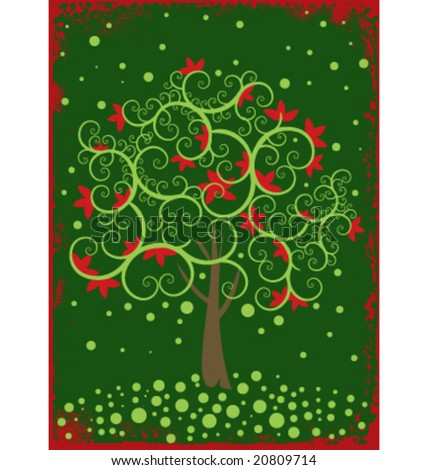 Christmas tree vector greeting card vintage