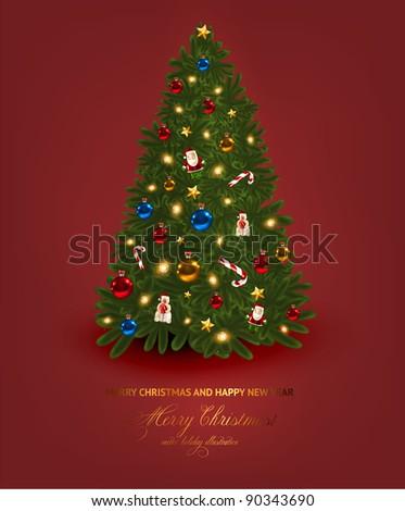 Christmas tree vector image - stock vector