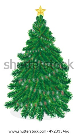 christmas tree vector on a white background