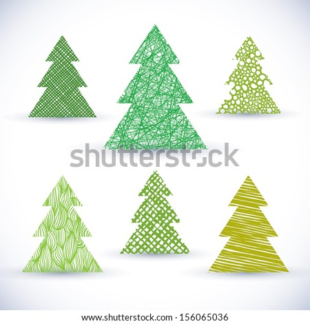Christmas tree vector set. - stock vector