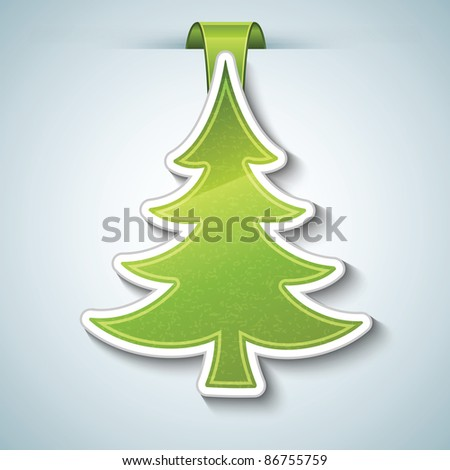 Christmas tree vector sticker - stock vector