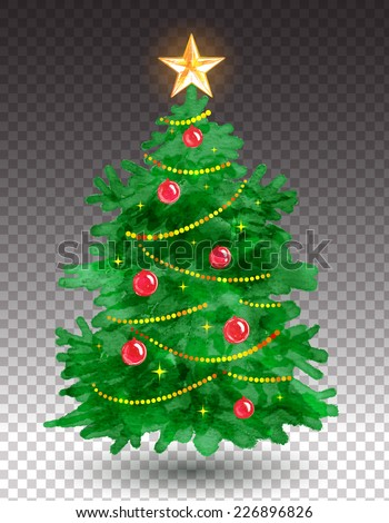 Christmas tree. Watercolor art. Vector illustration. Isolated. - stock vector