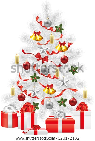 christmas tree, white fir-tree with decorations photo-realistic illustration - stock vector