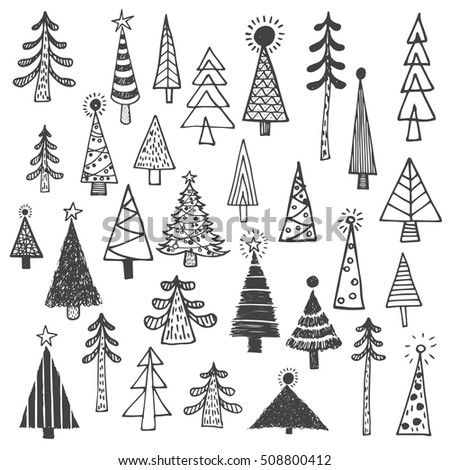 Christmas Tree White Spruce Fir Simple Drawing Set