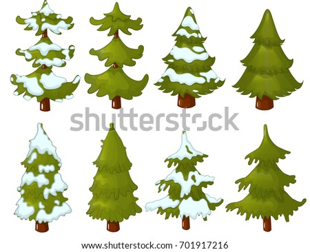 Cartoon Conifer Trees Without Snow Stock Vector 715438861  - Christmas Tree Discounts