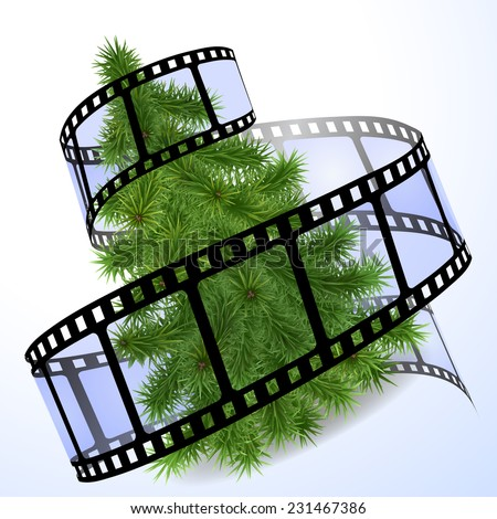 Christmas tree with a blue film strip - stock vector