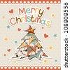 Christmas tree with a congratulatory text. Vector illustration. - stock vector
