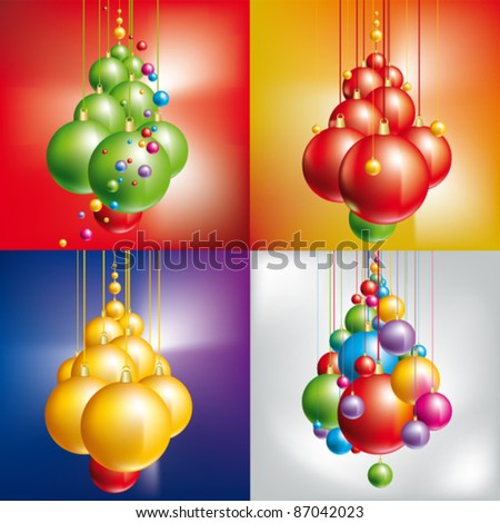 Christmas tree with balls on sparkling background - stock vector