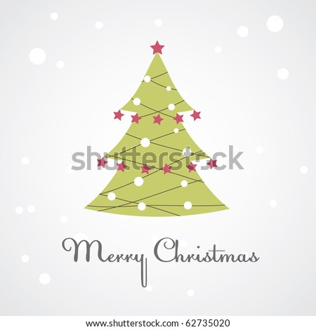 Christmas tree with colorful decoration. Vector illustration - stock vector
