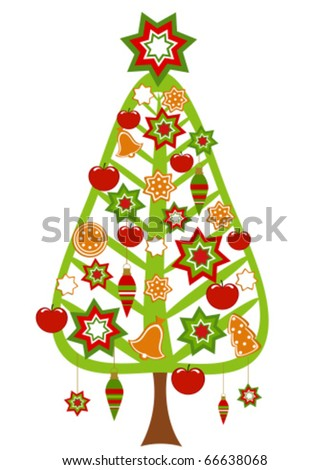 Christmas tree with colorful ornaments, apples and gingerbread cookies - stock vector