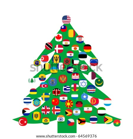 Christmas tree with country flags - stock vector
