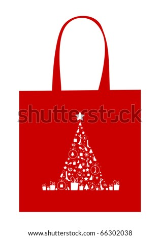 Christmas tree with decoration, design of shopping bag - stock vector