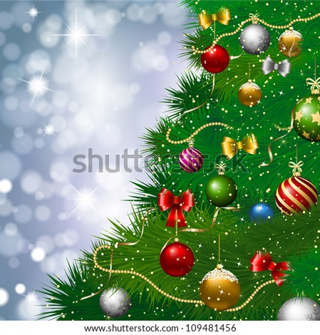 Christmas tree with decorations against a bokeh lights background - stock vector
