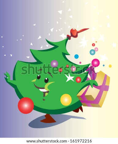 christmas tree with gift - stock vector