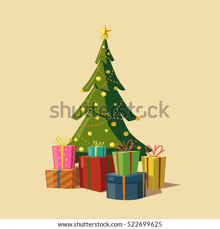 christmas tree with gifts cartoon vector illustration star decoration balls and light bulb - Christmas Tree Light Bulb