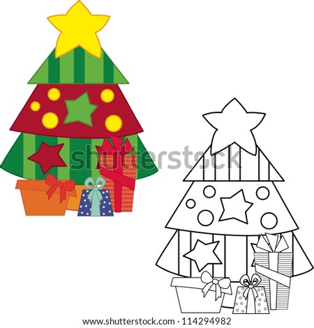 Christmas tree with gifts. Coloring book. Vector illustration - stock vector