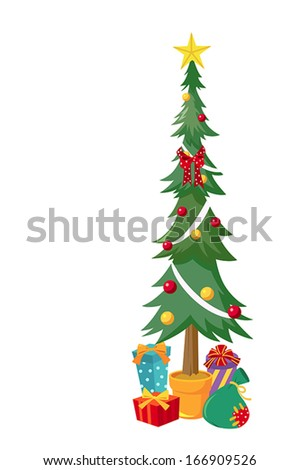 Christmas tree with glowing star and gifts - stock vector