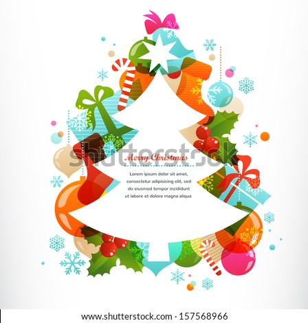 Christmas tree with labels and decorative elements - stock vector
