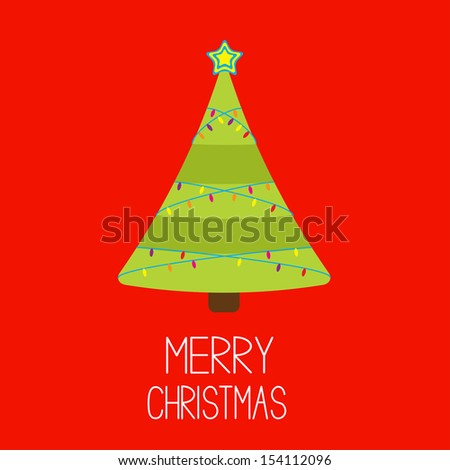 Christmas tree with lights. Merry Christmas card. Vector illustration.