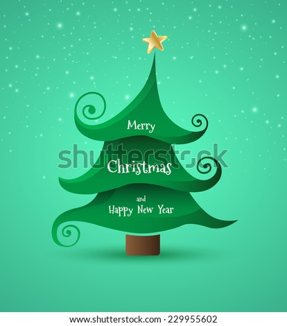 Christmas tree with Merry Christmas and Happy New year. Funny and happy holiday greeting card. Vector illustration. - stock vector