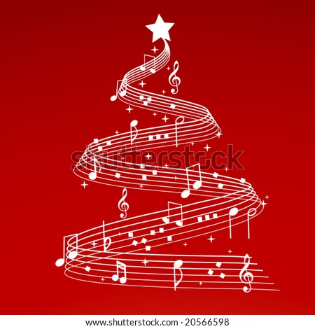 christmas tree with musical notes - stock vector
