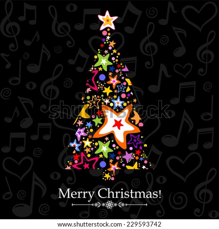 Christmas tree with musical notes and star. Vector Illustration  - stock vector