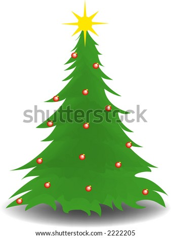 Christmas Tree With Ornaments - stock vector