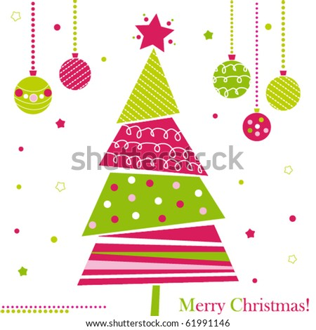Christmas tree with ornaments, xmas card - stock vector